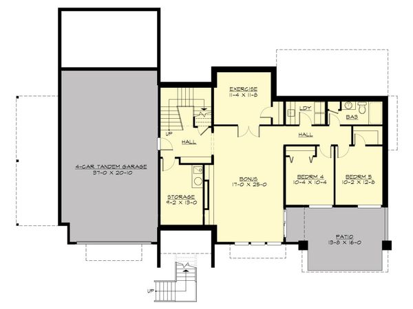 Contemporary Floor Plan - Lower Floor Plan Plan #132-226
