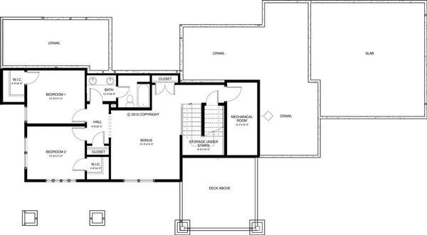 Craftsman Style House Plan - 3 Beds 2.5 Baths 2712 Sq/Ft Plan #895-49 Floor Plan - Lower Floor Plan