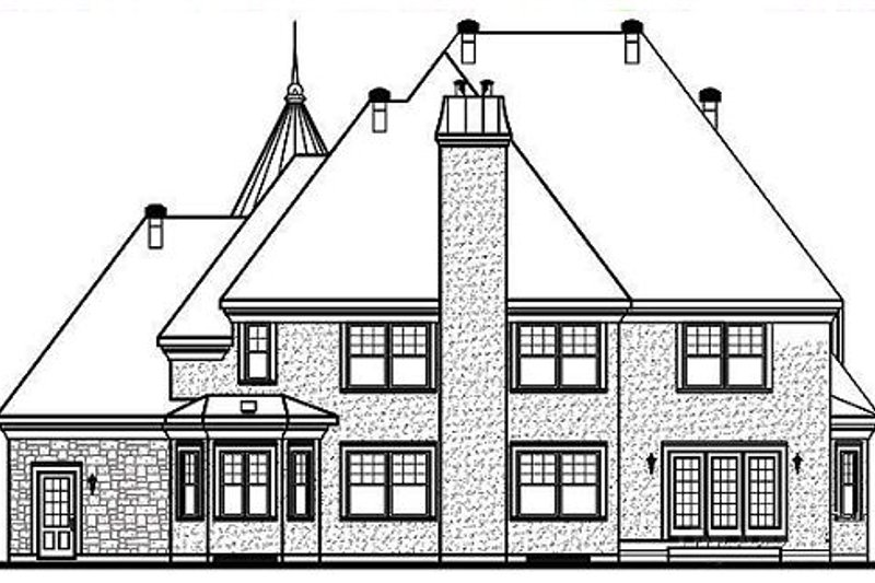European Exterior - Rear Elevation Plan #23-576 - Houseplans.com