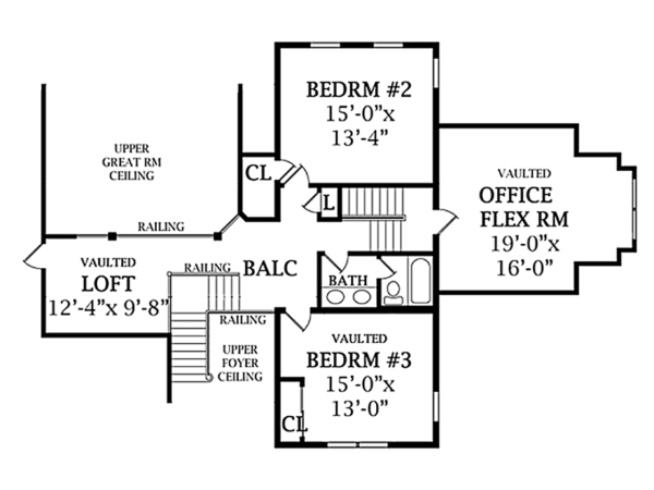 Traditional Floor Plan - Upper Floor Plan Plan #314-277