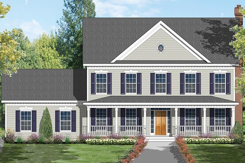 Architectural House Design - Colonial Exterior - Front Elevation Plan #1053-69
