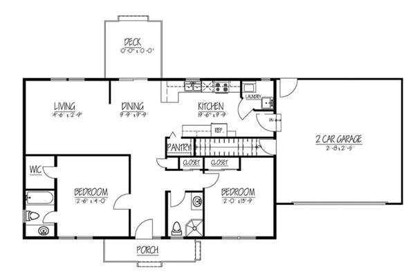 Ranch Floor Plan - Main Floor Plan Plan #1061-35