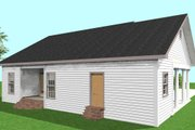 Country Style House Plan - 2 Beds 2 Baths 1301 Sq/Ft Plan #44-160 Exterior - Rear Elevation
