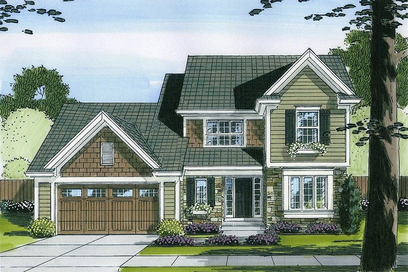 Traditional Exterior - Front Elevation Plan #46-492 - Houseplans.com