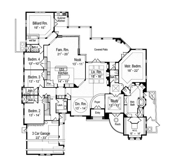 Mediterranean Floor Plan - Main Floor Plan Plan #417-815