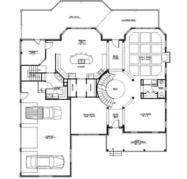 Craftsman Floor Plan - Main Floor Plan #123-114