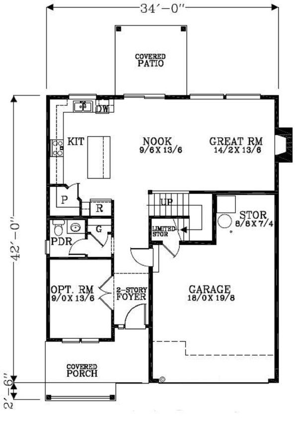 Craftsman Floor Plan - Main Floor Plan Plan #53-455
