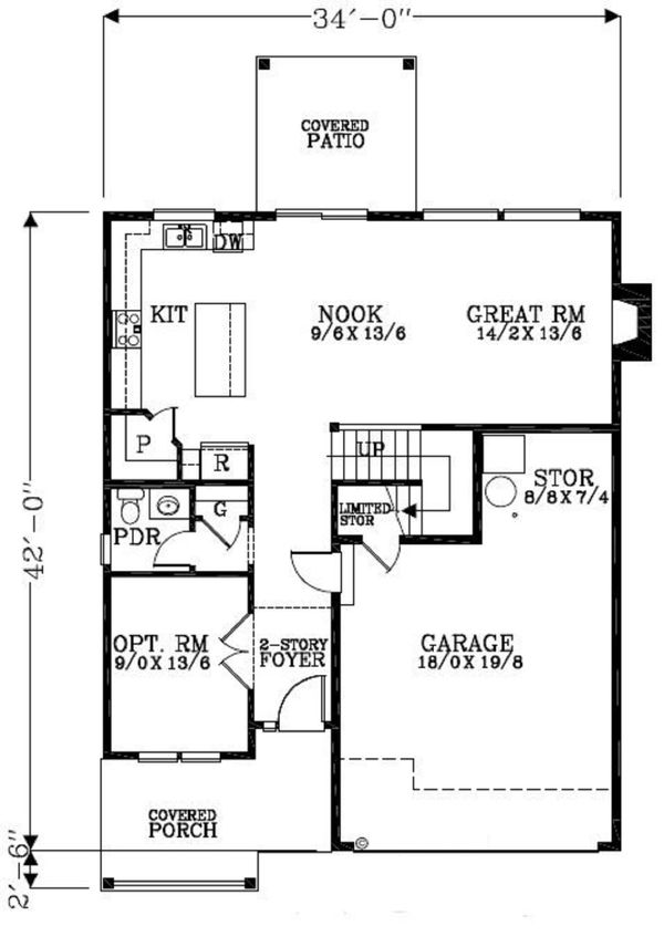 Craftsman Floor Plan - Main Floor Plan #53-455