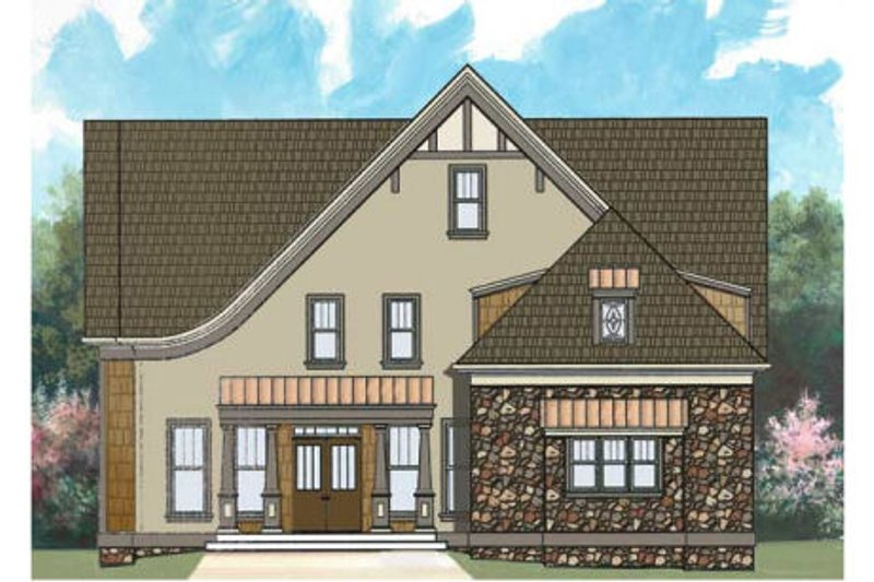 European Style House Plan - 4 Beds 2 Baths 2505 Sq/Ft Plan #119-329 Exterior - Front Elevation