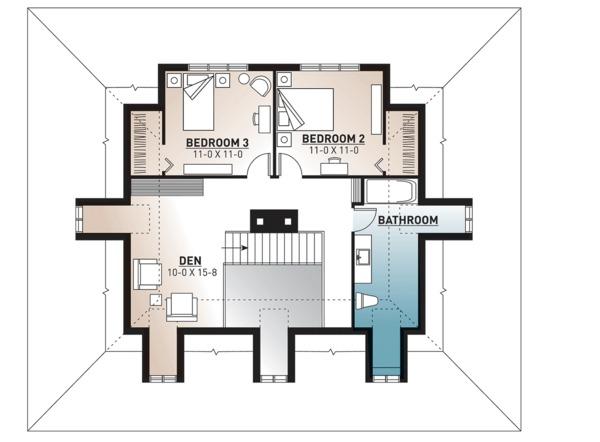 Country Floor Plan - Upper Floor Plan Plan #23-2091