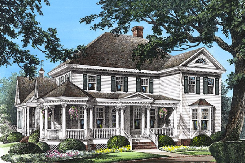Southern Exterior - Front Elevation Plan #137-118 - Houseplans.com