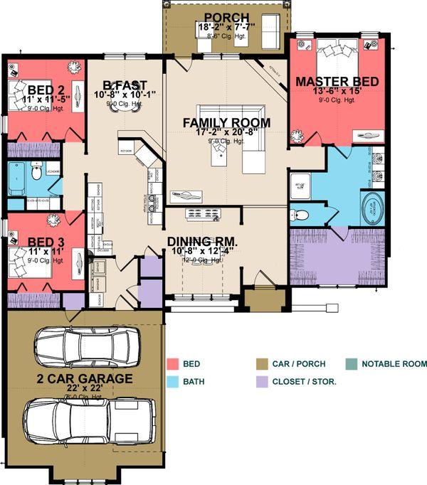 European Floor Plan - Main Floor Plan Plan #63-256