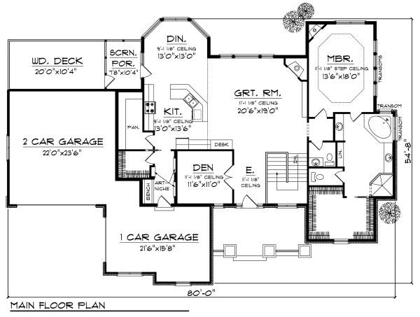 European Floor Plan - Main Floor Plan Plan #70-885