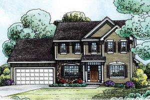 Traditional designed home, elevation