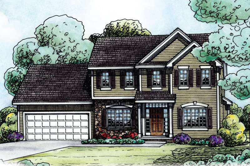 Traditional Style House Plan - 4 Beds 2.5 Baths 2019 Sq/Ft Plan #20-2144 Exterior - Front Elevation
