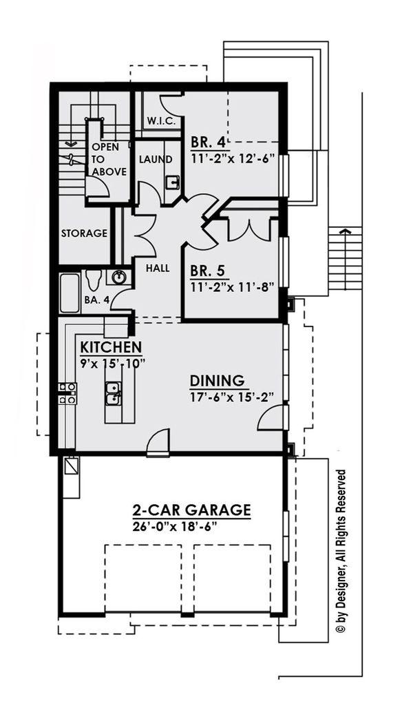 Contemporary Floor Plan - Lower Floor Plan Plan #1066-33