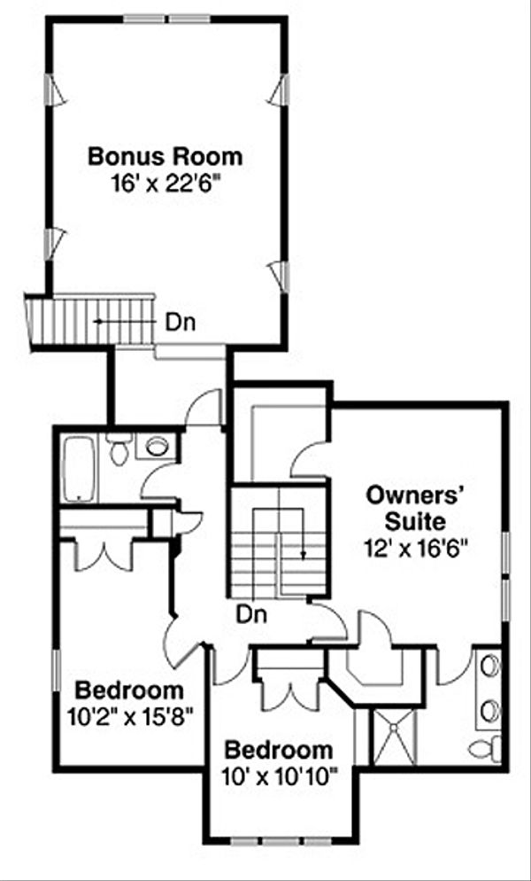 Craftsman Floor Plan - Upper Floor Plan Plan #124-204