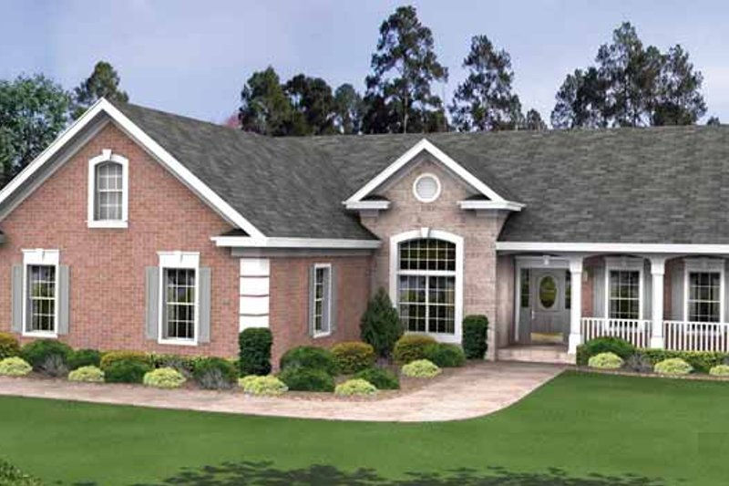 Dream House Plan - Country Exterior - Front Elevation Plan #56-695