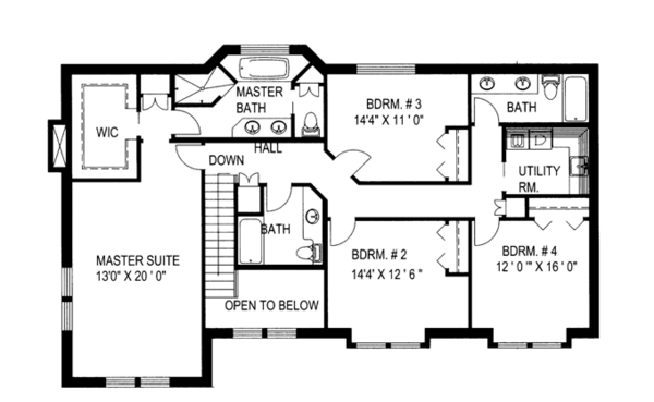 Country Floor Plan - Upper Floor Plan Plan #117-835