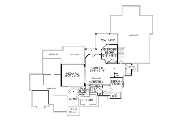 European Floor Plan - Lower Floor Plan Plan #920-77
