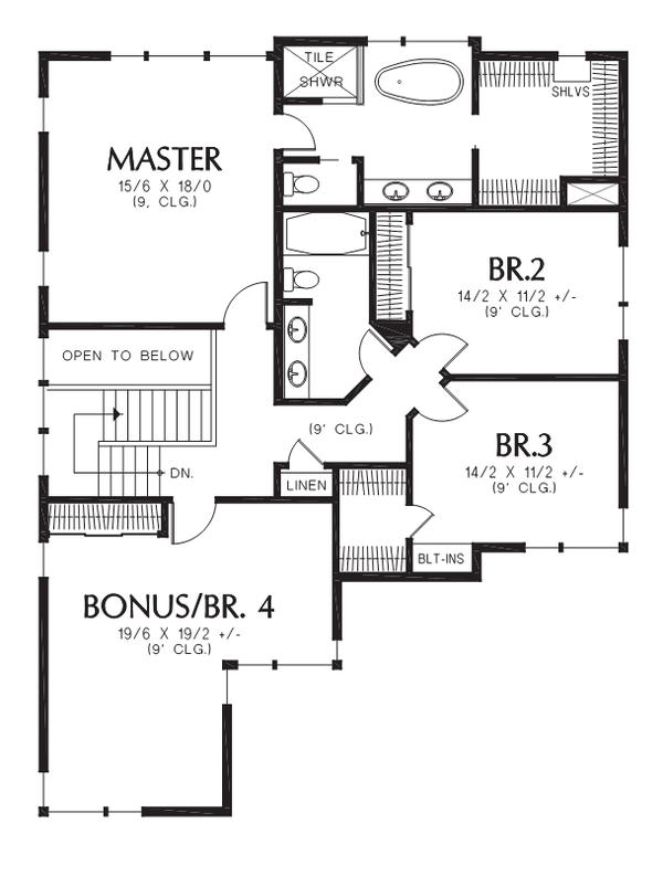 Contemporary Floor Plan - Upper Floor Plan #48-705