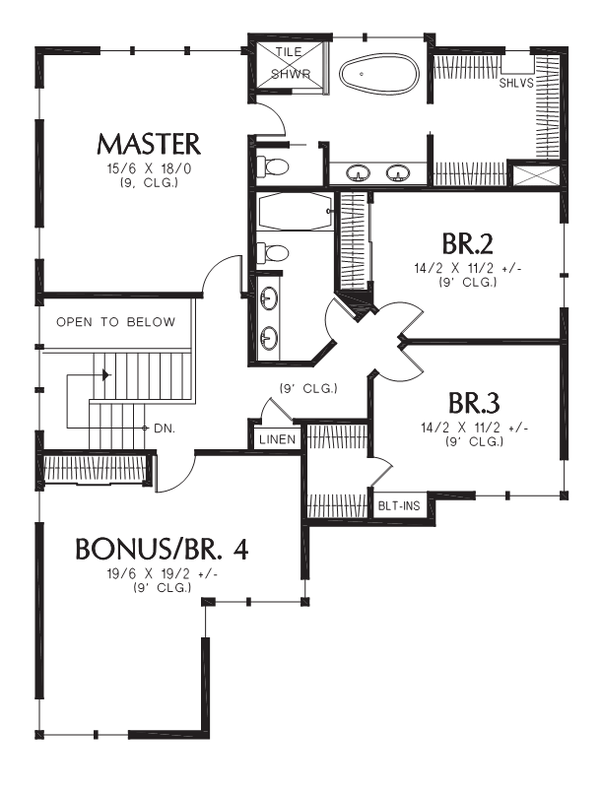 Contemporary Style House Plan - 4 Beds 2.5 Baths 2874 Sq/Ft Plan #48-705 Floor Plan - Upper Floor Plan