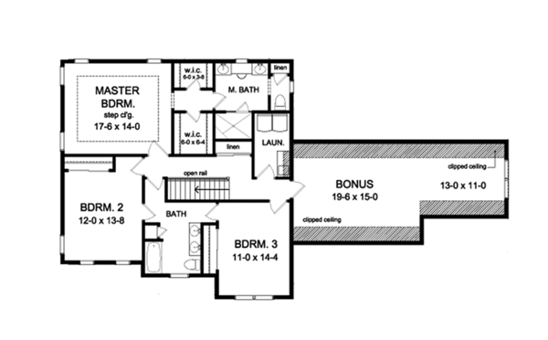 Traditional Floor Plan - Upper Floor Plan Plan #1010-128