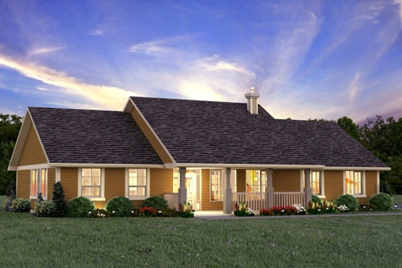Ranch Exterior - Front Elevation Plan #18-9545