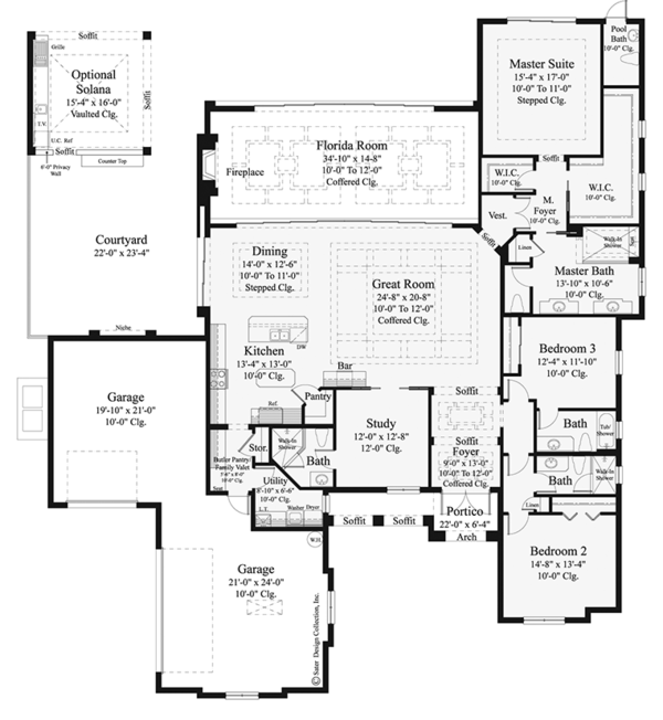 Mediterranean Floor Plan - Main Floor Plan Plan #930-457