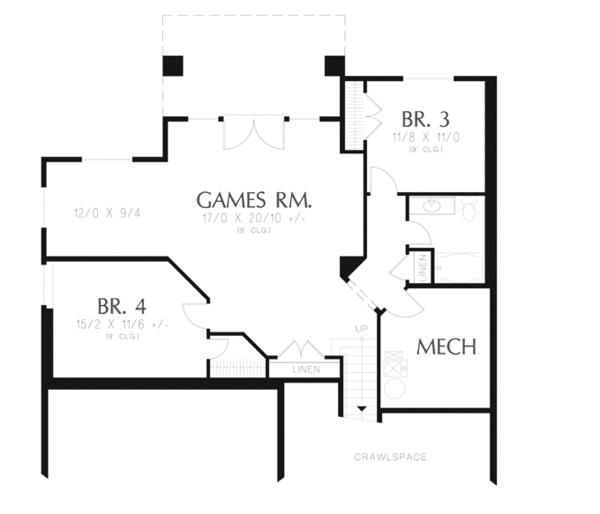 Craftsman Floor Plan - Lower Floor Plan Plan #48-899