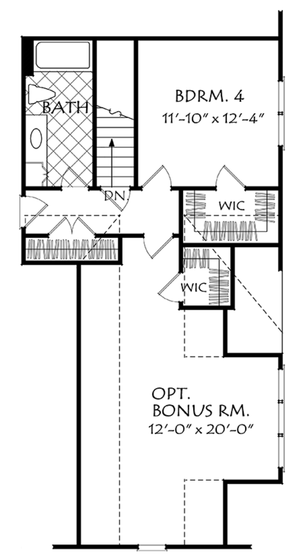 Traditional Floor Plan - Upper Floor Plan Plan #927-968