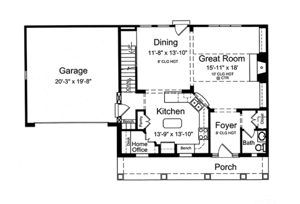 Country Floor Plan - Main Floor Plan Plan #46-845