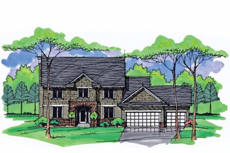 Colonial Exterior - Front Elevation Plan #51-1009