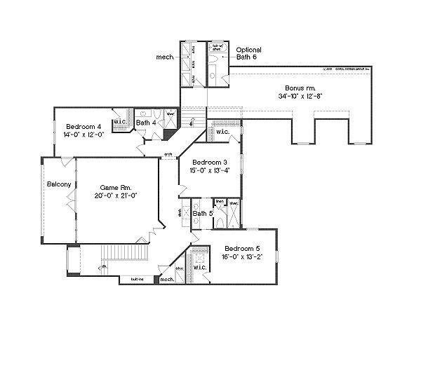 European Floor Plan - Upper Floor Plan Plan #135-148