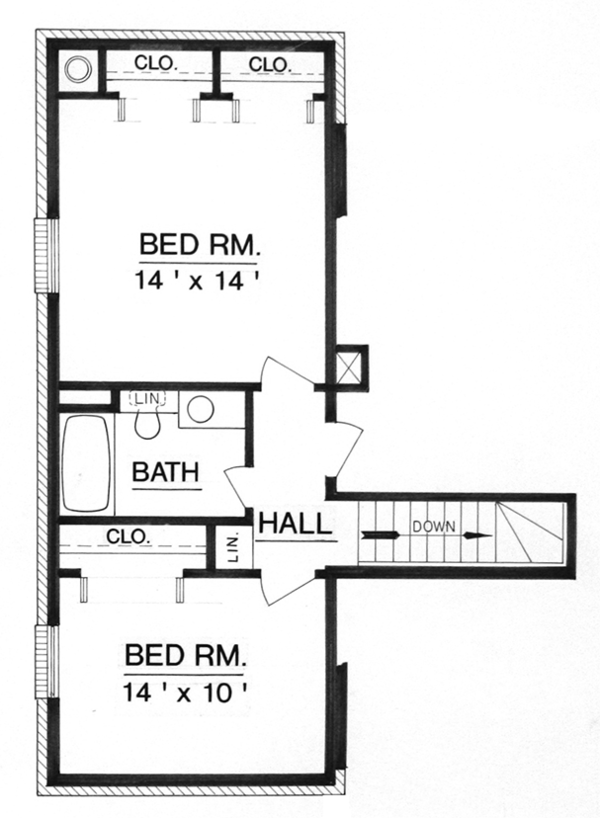 Traditional Floor Plan - Upper Floor Plan Plan #45-565