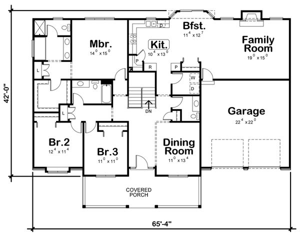 Architectural House Design - Ranch Floor Plan - Main Floor Plan #20-125
