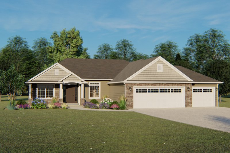 Architectural House Design - Ranch Exterior - Front Elevation Plan #1064-41