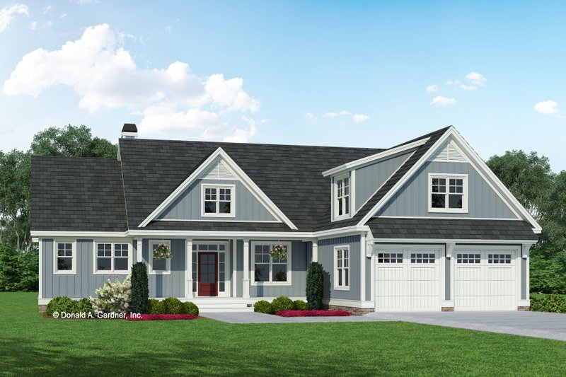 Ranch Style House Plan - 3 Beds 2 Baths 1486 Sq/Ft Plan #929-1118 Exterior - Front Elevation