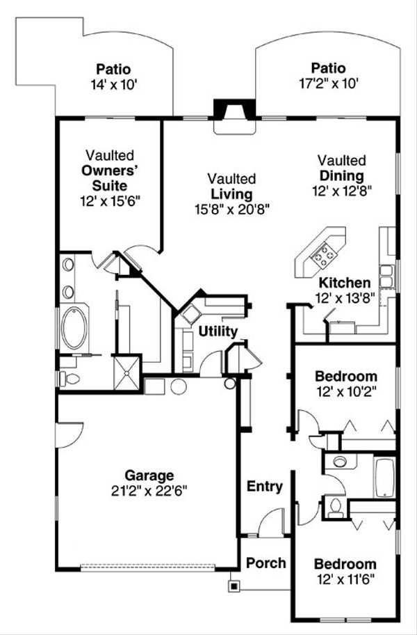 Craftsman Floor Plan - Main Floor Plan Plan #124-783
