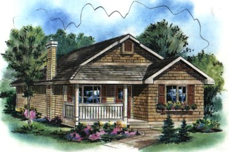 Cottage Style House Plan - 3 Beds 2 Baths 1112 Sq/Ft Plan #18-1038 Exterior - Front Elevation