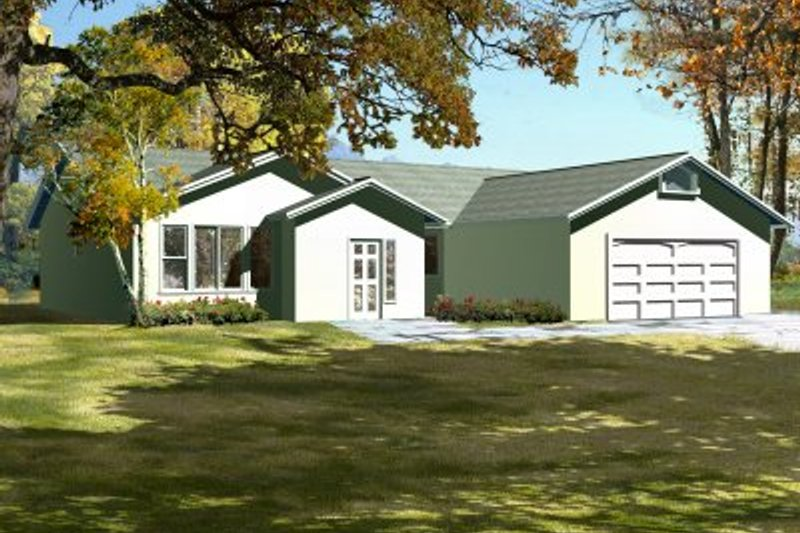 Adobe / Southwestern Style House Plan - 3 Beds 2 Baths 1582 Sq/Ft Plan #1-314 Exterior - Front Elevation