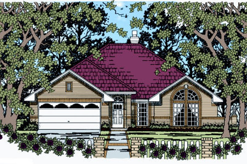 Traditional Style House Plan - 4 Beds 2 Baths 1856 Sq/Ft Plan #42-363 Exterior - Front Elevation