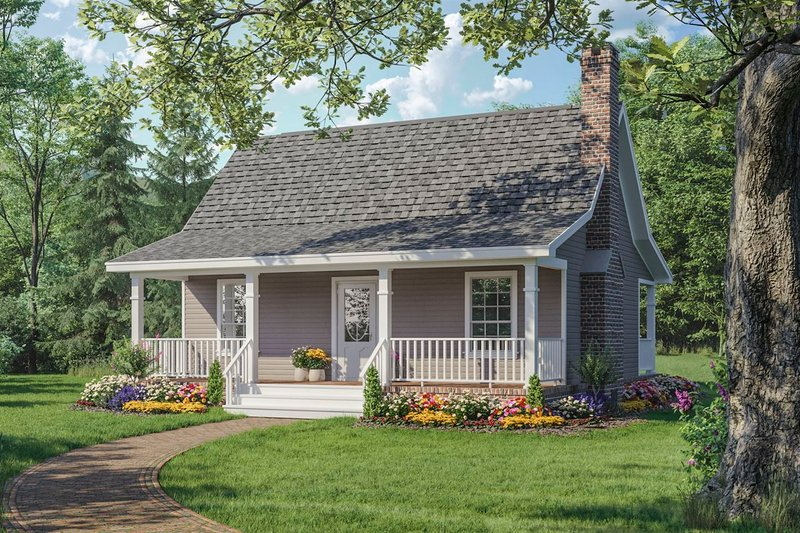 Cabin Style House Plan - 1 Beds 1 Baths 600 Sq/Ft Plan #21-108