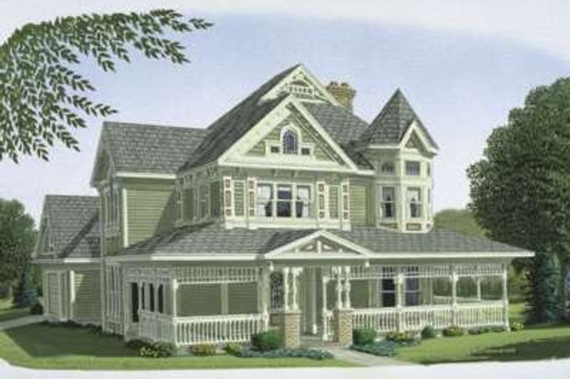 Victorian Style House Plan - 3 Beds 2.5 Baths 2312 Sq/Ft Plan #410-111 Exterior - Front Elevation