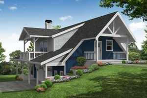 Cottage Exterior - Front Elevation Plan #124-1204