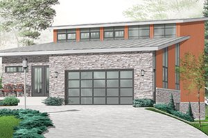 House Blueprint - Contemporary Exterior - Front Elevation Plan #23-2460