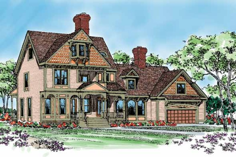 House Blueprint - Victorian Exterior - Front Elevation Plan #72-896