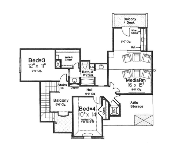 House Plan Design - European Floor Plan - Upper Floor Plan #310-1276