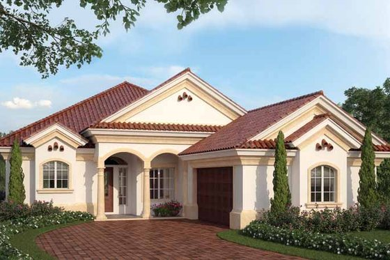 Mediterranean Exterior - Front Elevation Plan #938-24