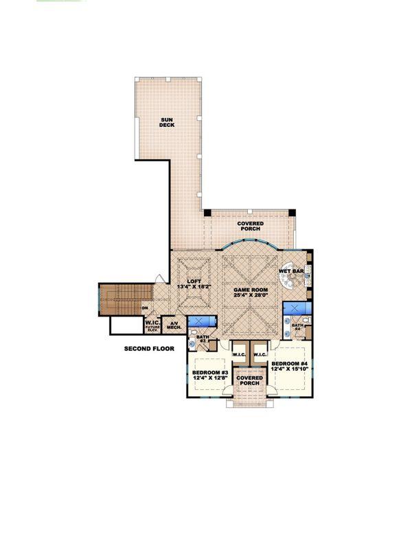 Colonial Floor Plan - Upper Floor Plan #27-540